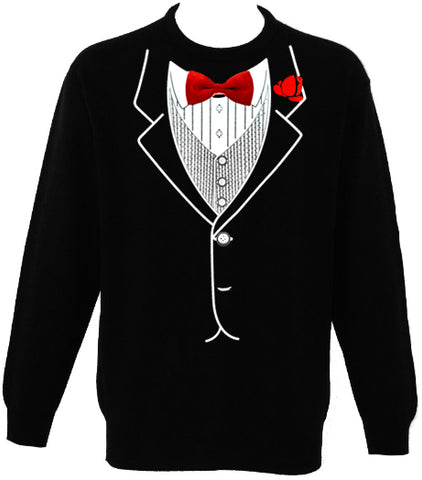 Tuxedo SweatShirt - Mens All Occasion Formal Tuxedo Crew Neck Sweat Shirt