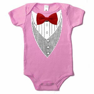 Tuxedo T-Shirts - All Occasion Formal Tuxedo Infant Onesies (Pink)