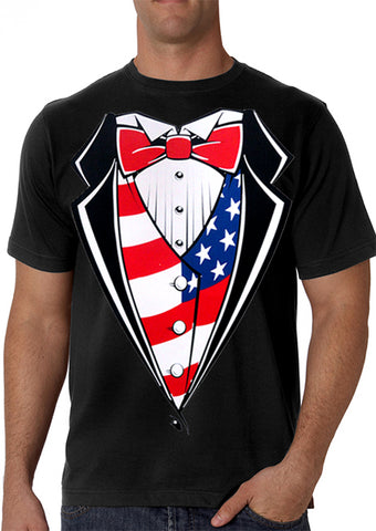 Tuxedo T-Shirts - American Flag Tuxedo T-Shirt with Vest & Bowtie