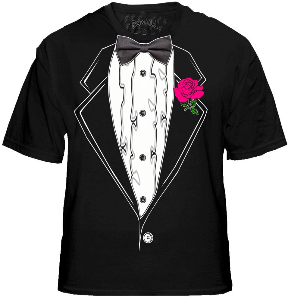 Tuxedo T-Shirts - Mens Black Ruffled Tuxedo T-Shirt With Pink Rose