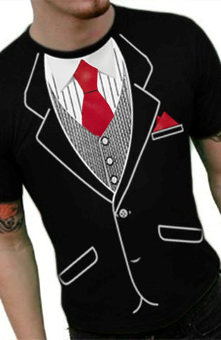 Tuxedo T-Shirts - Mens Classic Tuxedo T-Shirt With Red Tie