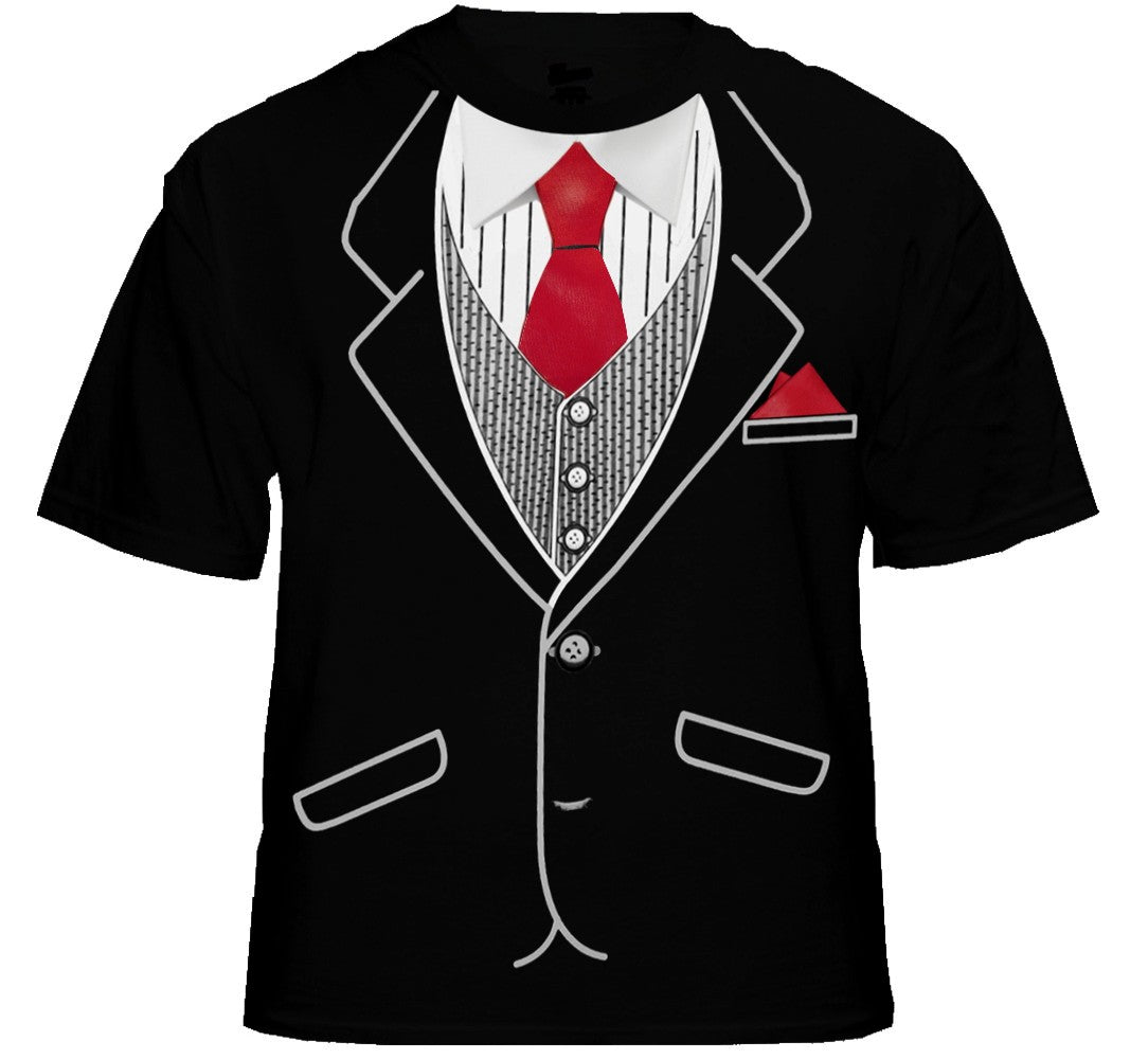 Mens Classic Tuxedo T-Shirt With Red Tie