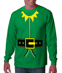 Tuxedo T-Shirts - Mens Long Sleeve Elf Costume Shirt (Kelly Green)