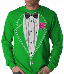 Tuxedo T-Shirts - Mens Ruffled Irish Green Long Sleeve Tuxedo T-Shirt