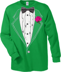 Mens Ruffled Irish Green Long Sleeve Tuxedo T-Shirt
