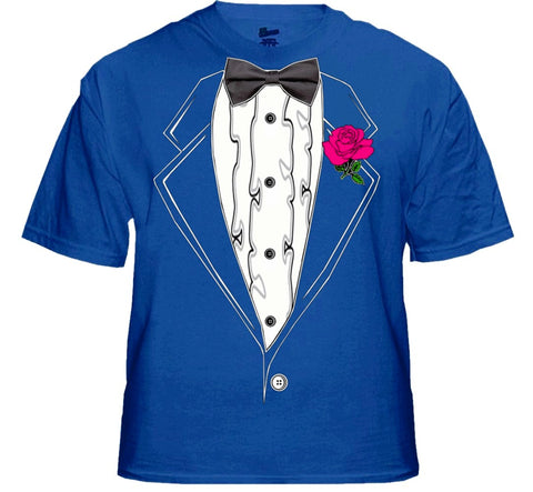 Tuxedo T-Shirts - Mens Ruffled Tuxedo T-Shirt With Pink Rose  (Royal Blue)