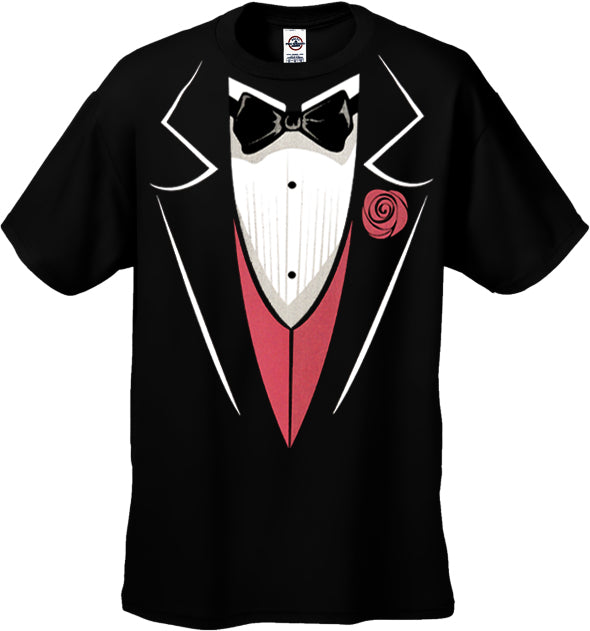 Tuxedo T-Shirts - Mens Tuxedo T-Shirt with Pink Vest and Flower (Black)