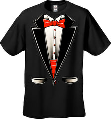 Tuxedo T-Shirts - Mens Tuxedo T-Shirt with Red bow tie and Cummerbund