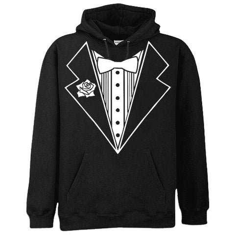 Tuxedo T-Shirts -Tuxedo With Flower Adult Size Hoodie