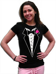 Tuxedo T-Shirts -Tuxedo With Pink Flower T-Shirt  in Juniors and Womens Sizes (Black)