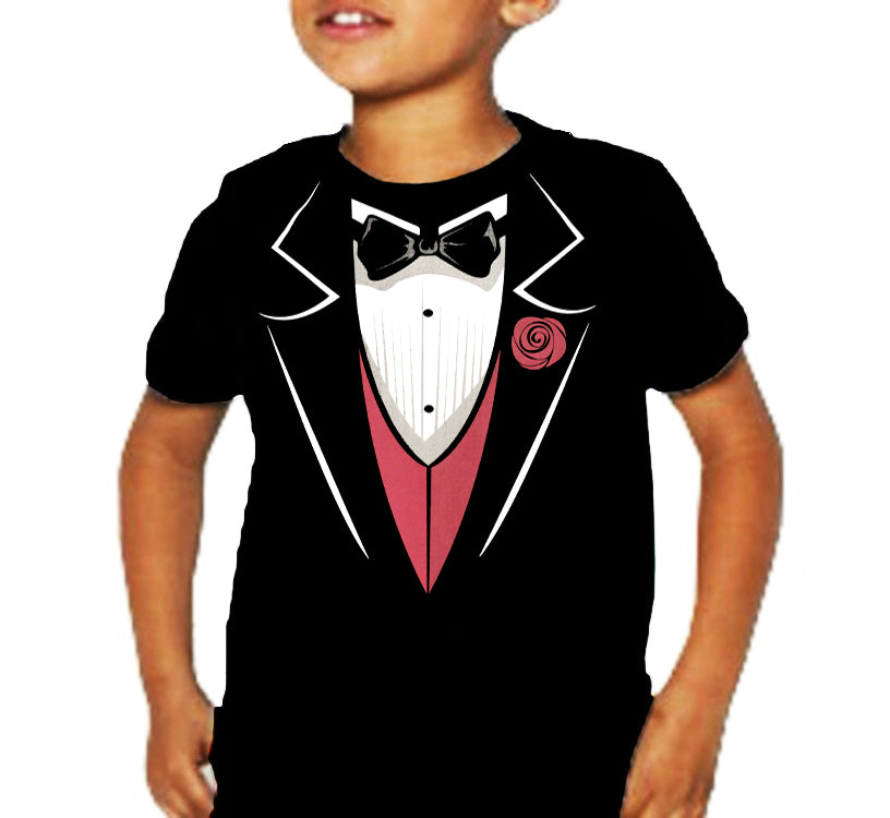 Tuxedo T-Shirts - Tuxedo With Pink Vest And Flower Kid's T-Shirt (Black)