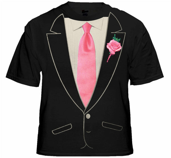 Pink Tie With Tux: Mens Formal Tuxedo Shirt With Pink Tie
