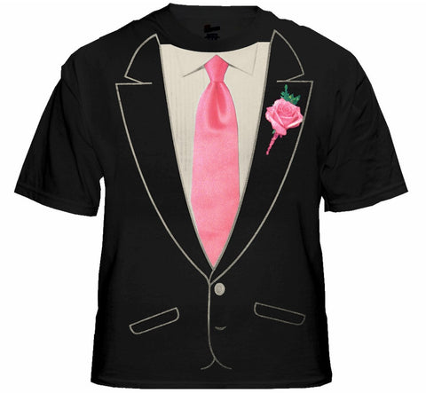 Tuxedo TShirt - Mens Formal Tuxedo Shirt with Pink Tie (Black Shirt)