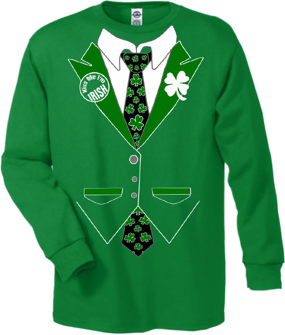 Irish Shamrock Tie Tuxedo Long Sleeve T-Shirt