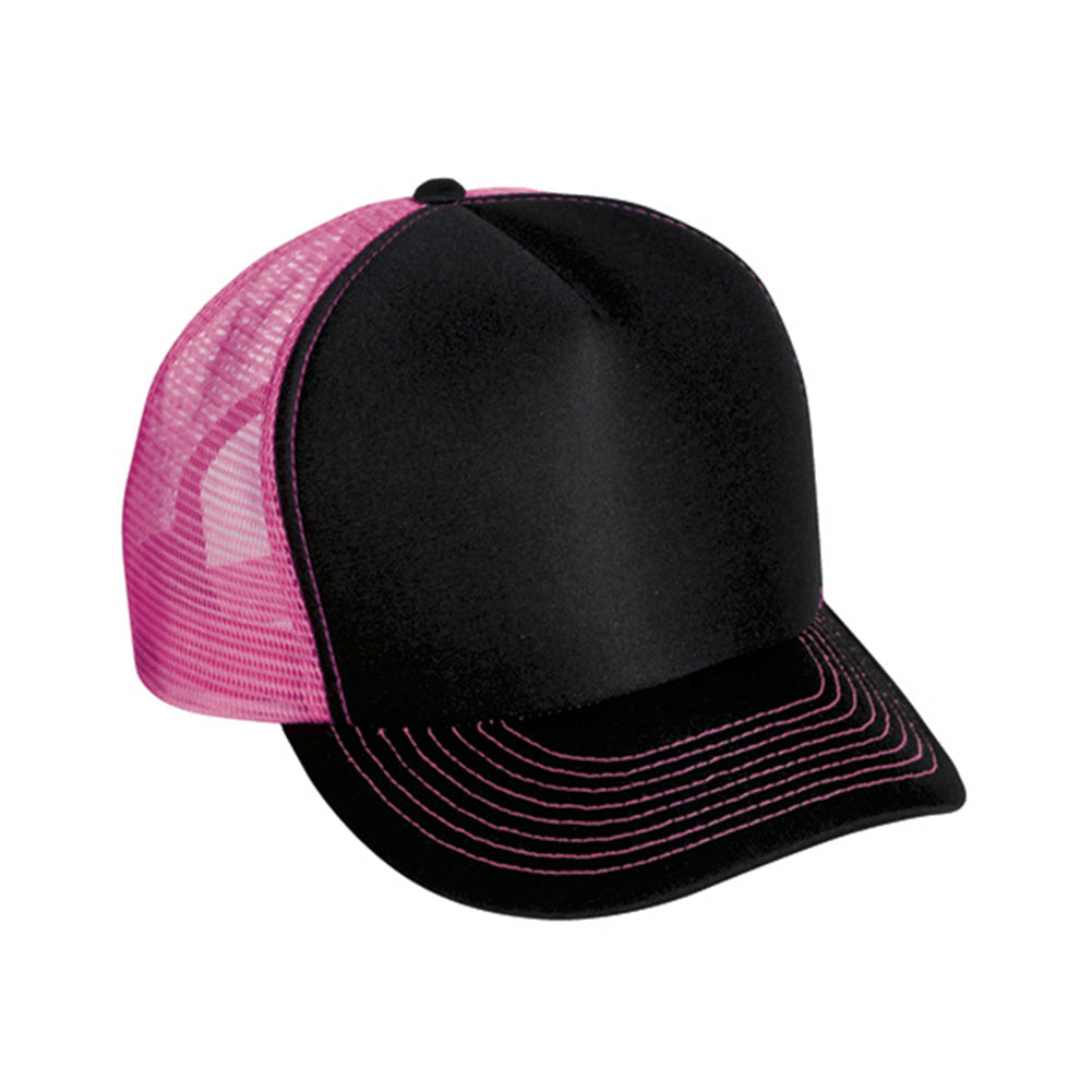 Two Tone Trucker Hats - Black/Neon Pink Blank Trucker Cap