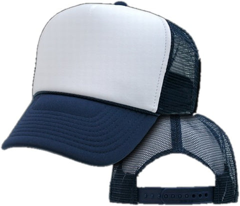 Two Tone Trucker Hats - Navy Blue Blank Trucker Cap