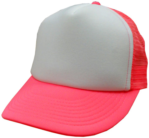 Two Tone Trucker Hats - Neon Pink Trucker Cap