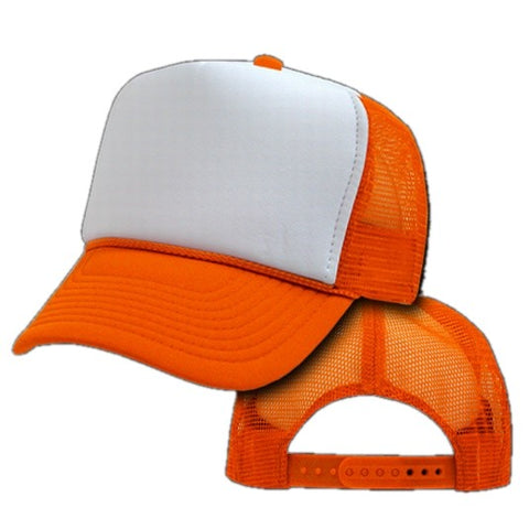 Two Tone Trucker Hats - Orange Blank Trucker Cap