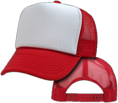 Two Tone Trucker Hats - Red Blank Trucker Cap