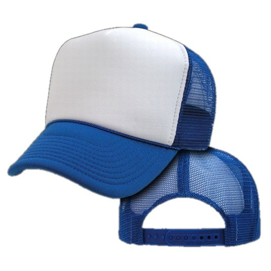 Two Tone Trucker Hats - Royal Blue Blank Trucker Cap