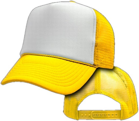 Two Tone Trucker Hats - Yellow Blank Trucker Cap