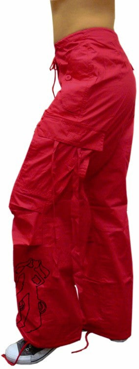 UFO Girly Basic UFO Embroidered Flat Pocket Pants (Red)