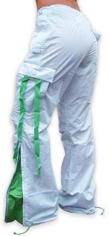 UFO Girly Hipster Pants With Expandable  Bottoms (White & Lime)