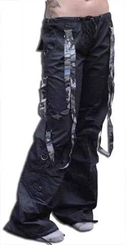 UFO Strappy Hipster Girls Pants (Black/Blue Camo)