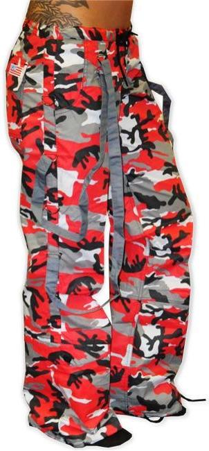 UFO Strappy Hipster Girls Pants (Red Camo/Charcoal Grey)