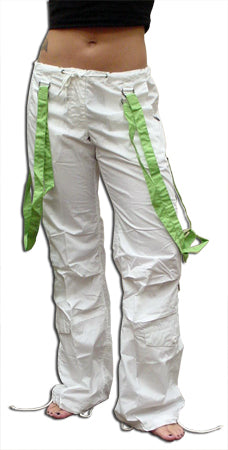 UFO Strappy Hipster Girls Pants (White/Green)