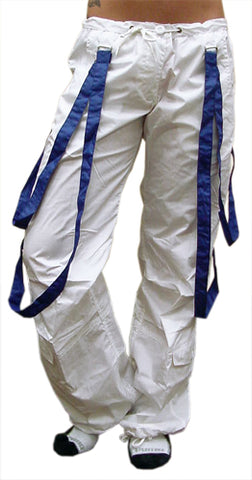 UFO Strappy Hipster Girls Pants (White/Royal)