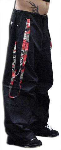 UFO Unisex Basic Strappy Pants (Black/Red Camo)