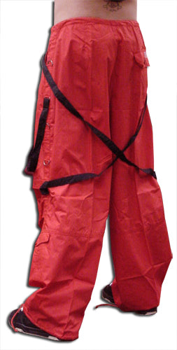 UFO Unisex Basic Strappy Pants (Red/Black)