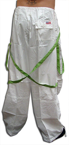 UFO Unisex Basic Strappy Pants (White/Green)