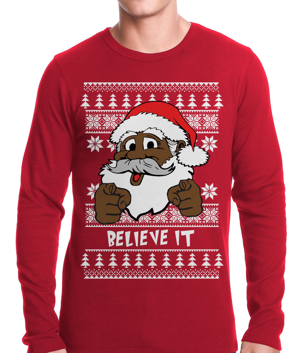 "Black Santa ""Believe It"" Thermal Shirt"