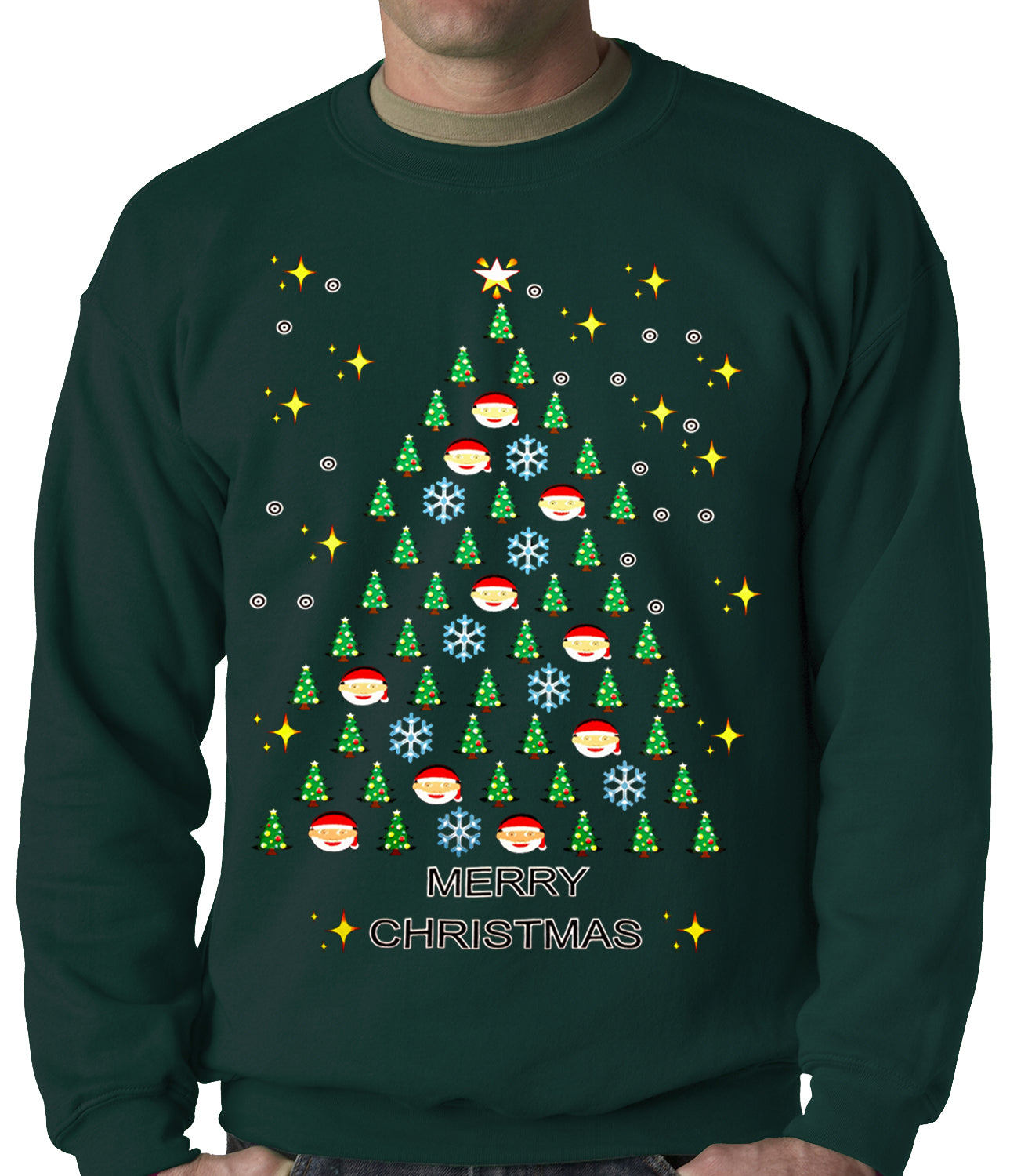 Ugly Christmas Sweater - Emoji Christmas Tree Ugly Christmas Adult Crewneck