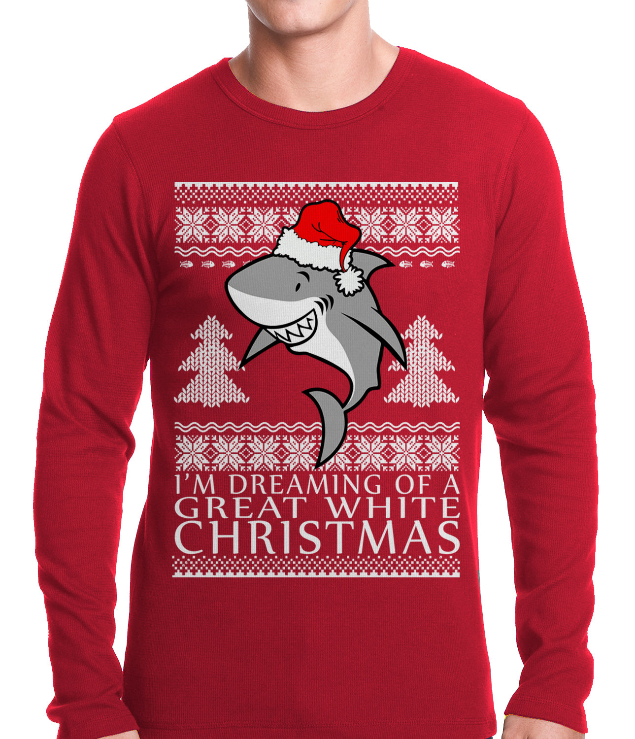 Great White Shark Christmas Thermal Shirt