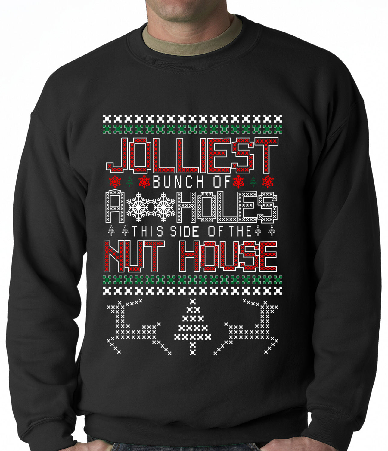 Ugly Christmas Jolliest Bunch Of A**holes Crenweck Sweatshirt