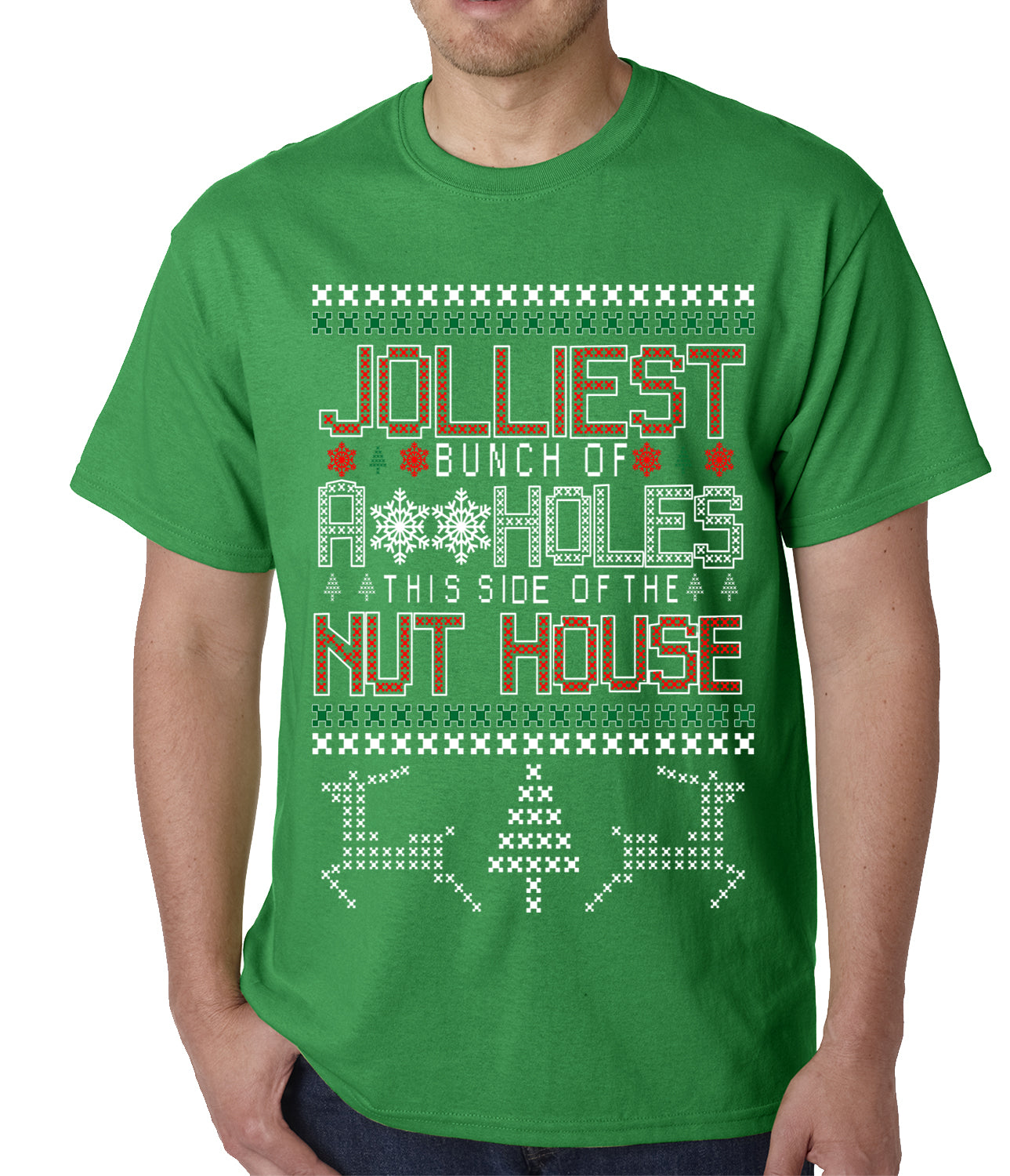 Ugly Christmas T-shirt - Jolliest Bunch Of A**Holes Mens T-shirt