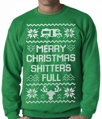 Ugly Christmas Sweater - Merry Christmas Shitters Full Ugly Adult Crewneck