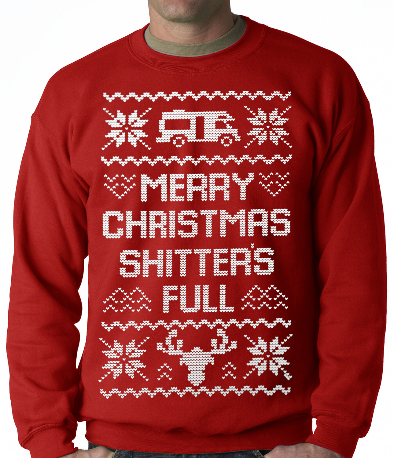Ugly Christmas Sweater Merry Christmas Shitters Full Ugly Adult
