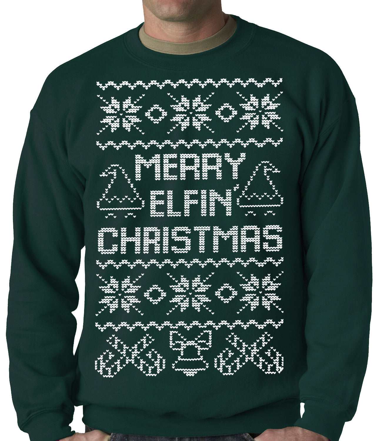 Funny Ugly Christmas Sweater.Ugly Christmas Sweater Merry Elfin Christmas Funny Ugly Christmas Adult Crewneck