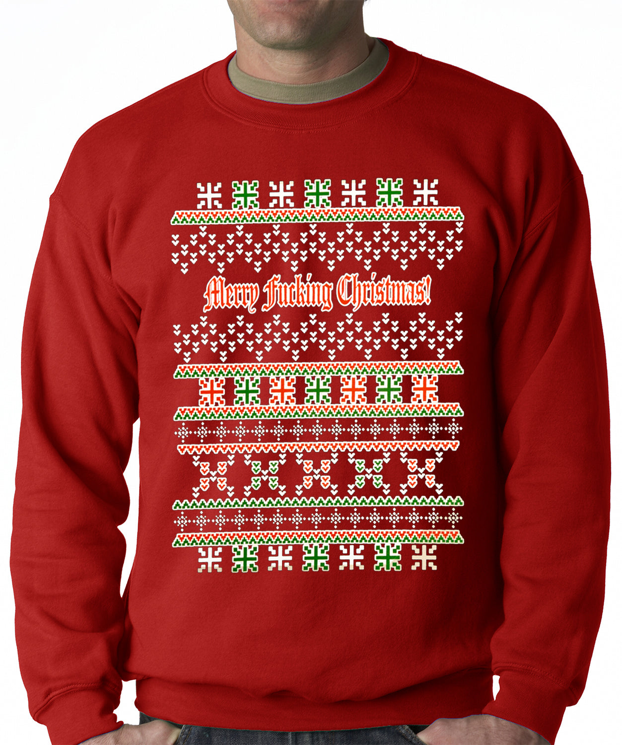 Ugly Christmas Sweater - Merry F*cking Christmas Adult Crewneck