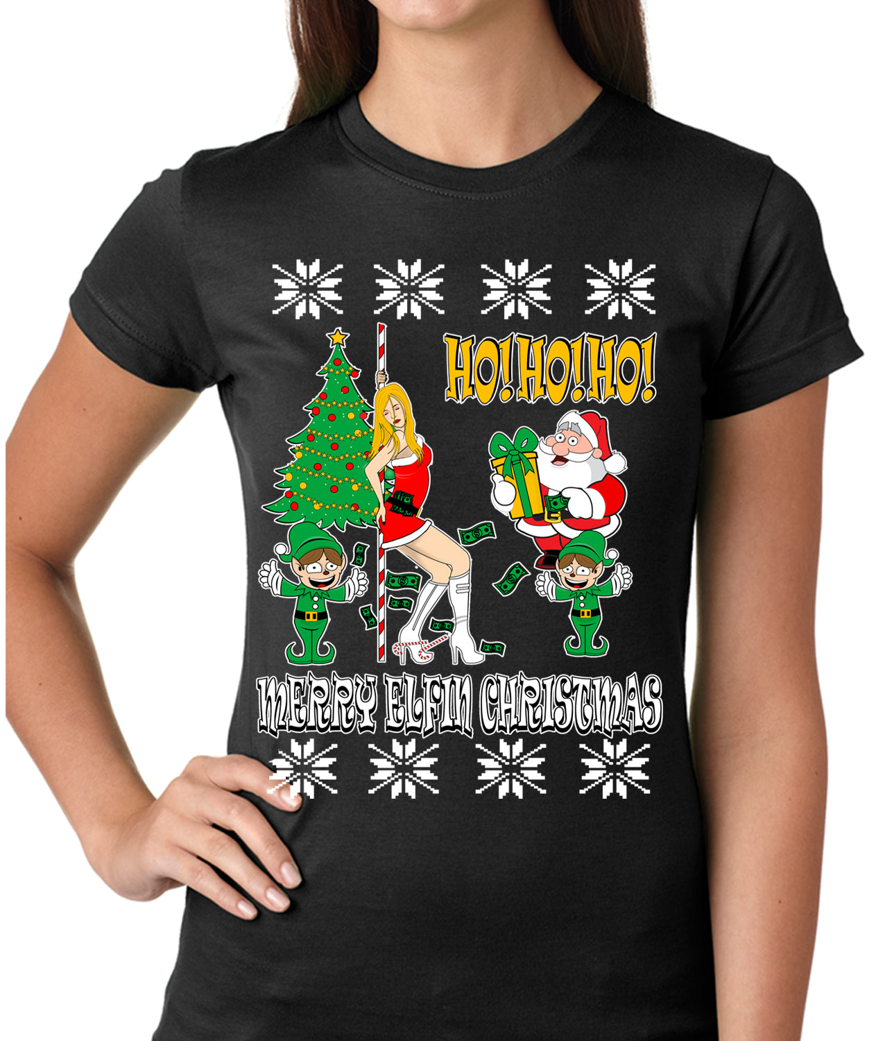 Ugly Christmas T-shirt - Santa and the Stripper Girls T-shirt
