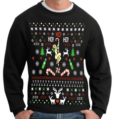 Ugly Christmas Sweater - Sexy Girl Stripper Pole Adult Crewneck