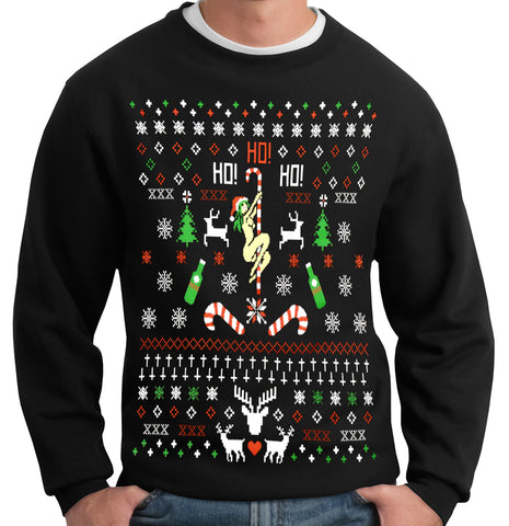 72a71e7be Ugly Christmas Sweater - Sexy Girl Stripper Pole Adult Crewneck
