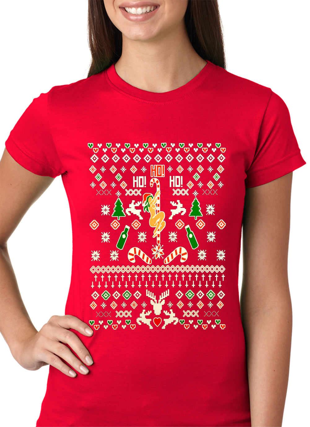 Ugly Christmas T-shirt - Sexy Stripper on a Pole Girls T-shirt