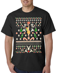 Ugly Christmas  T-shirt  - Sexy Stripper on a Pole Mens T-shirt