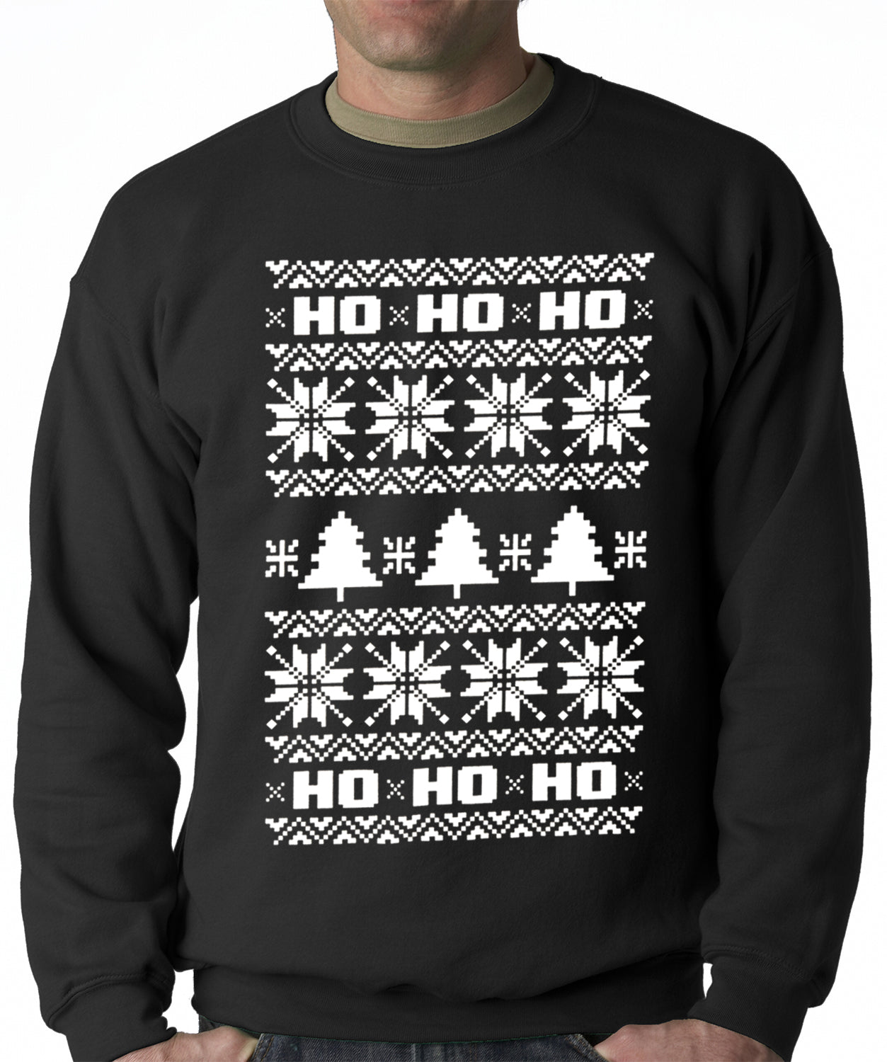 Ugly Christmas Sweater - Snowflake HO HO HO Adult Crewneck