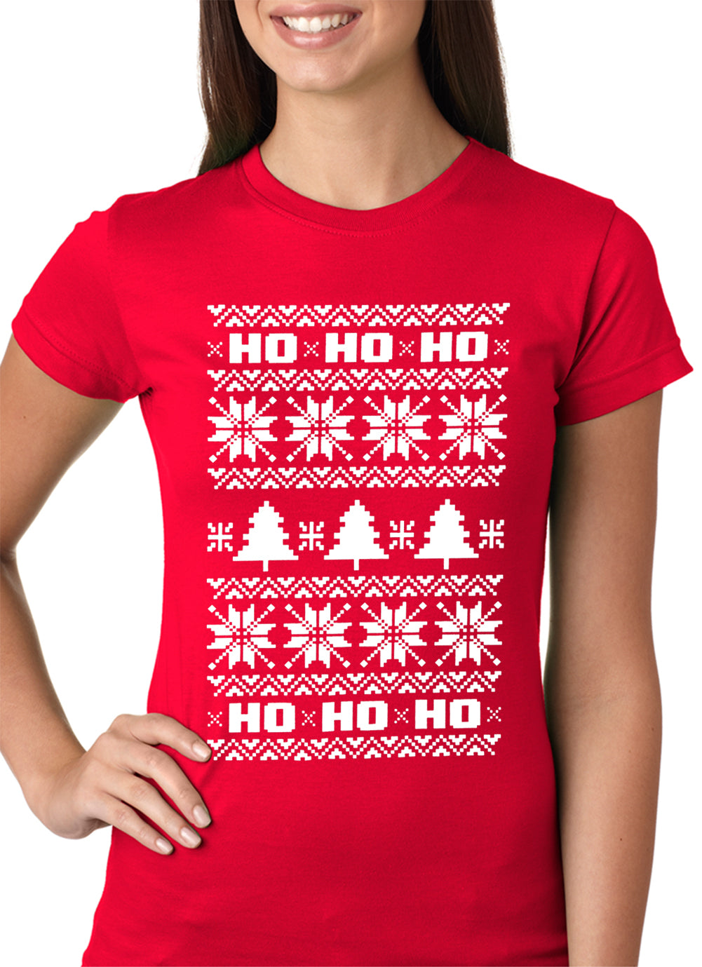 Ugly Christmas  T-shirt - Snowflake HO HO HO Girls T-shirt